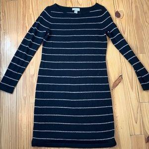 LOFT Black Gold Striped Long Sleeve Dress